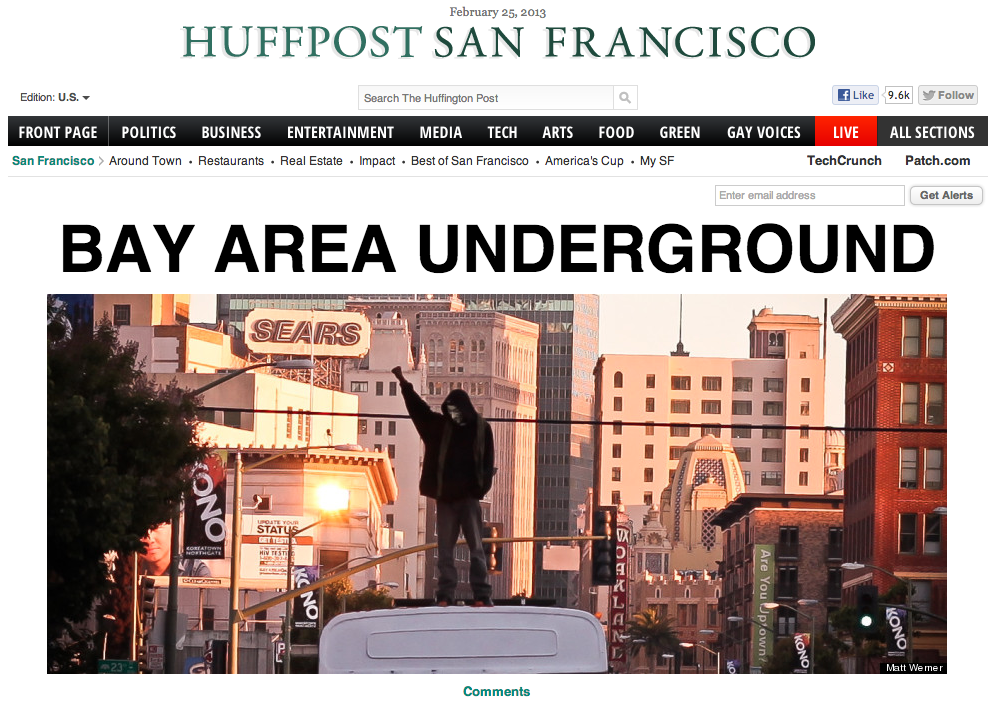 Bay Area Underground on the San Francisco frontpage of the Huffington Post