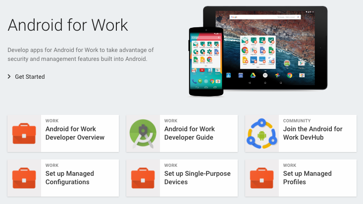 Android for Work developer site